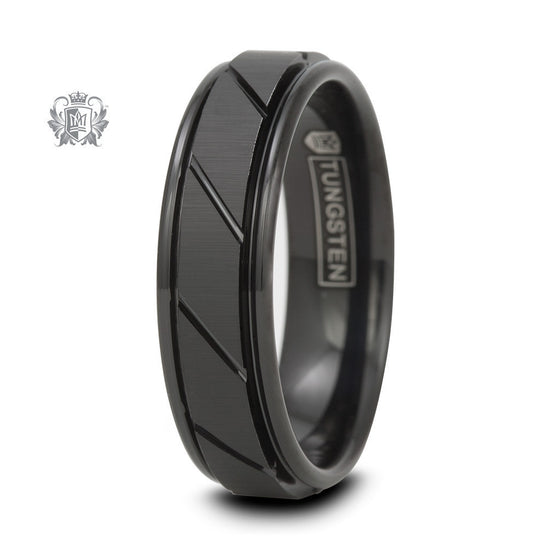 Sharp Diagonal Tungsten Carbide Band - Size 8 Tungsten Rings