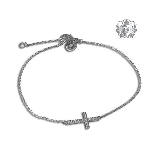 Metalsmiths Sterling Silver Sideways Cross Anklet