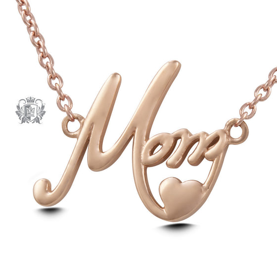 Mom Pendant - Rose gold dipped sterling silver Necklaces - 3