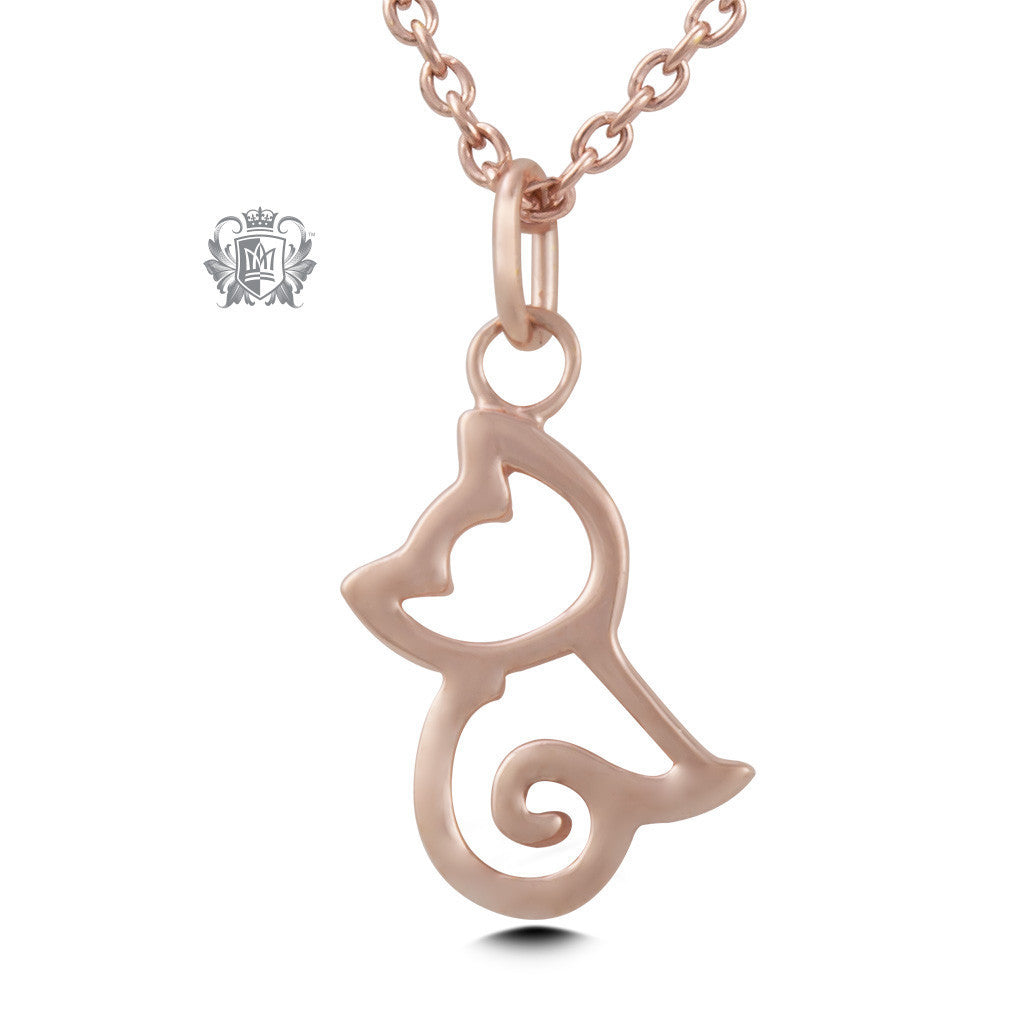 Cat Pendant - Rose gold dipped sterling silver Necklaces - 3
