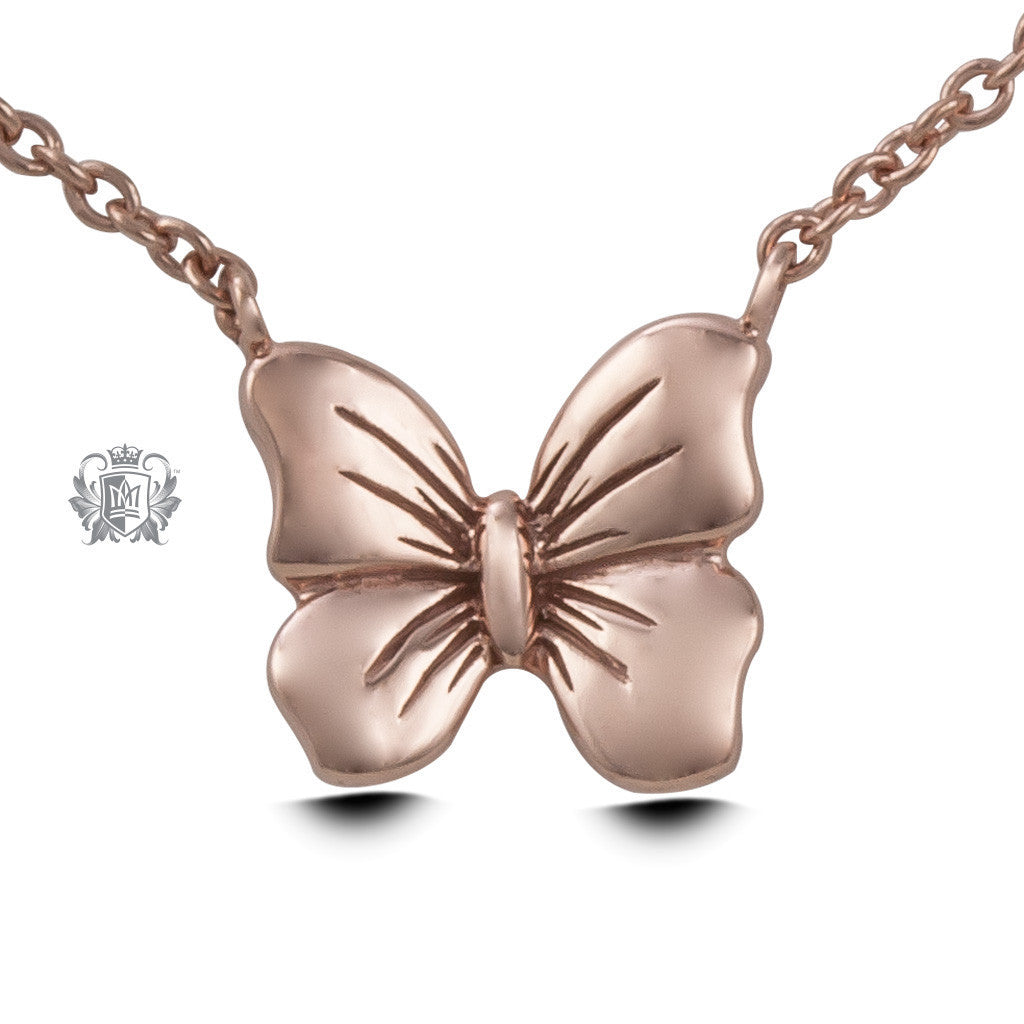 Butterfly Pendant - Rose gold dipped sterling silver Necklaces - 3