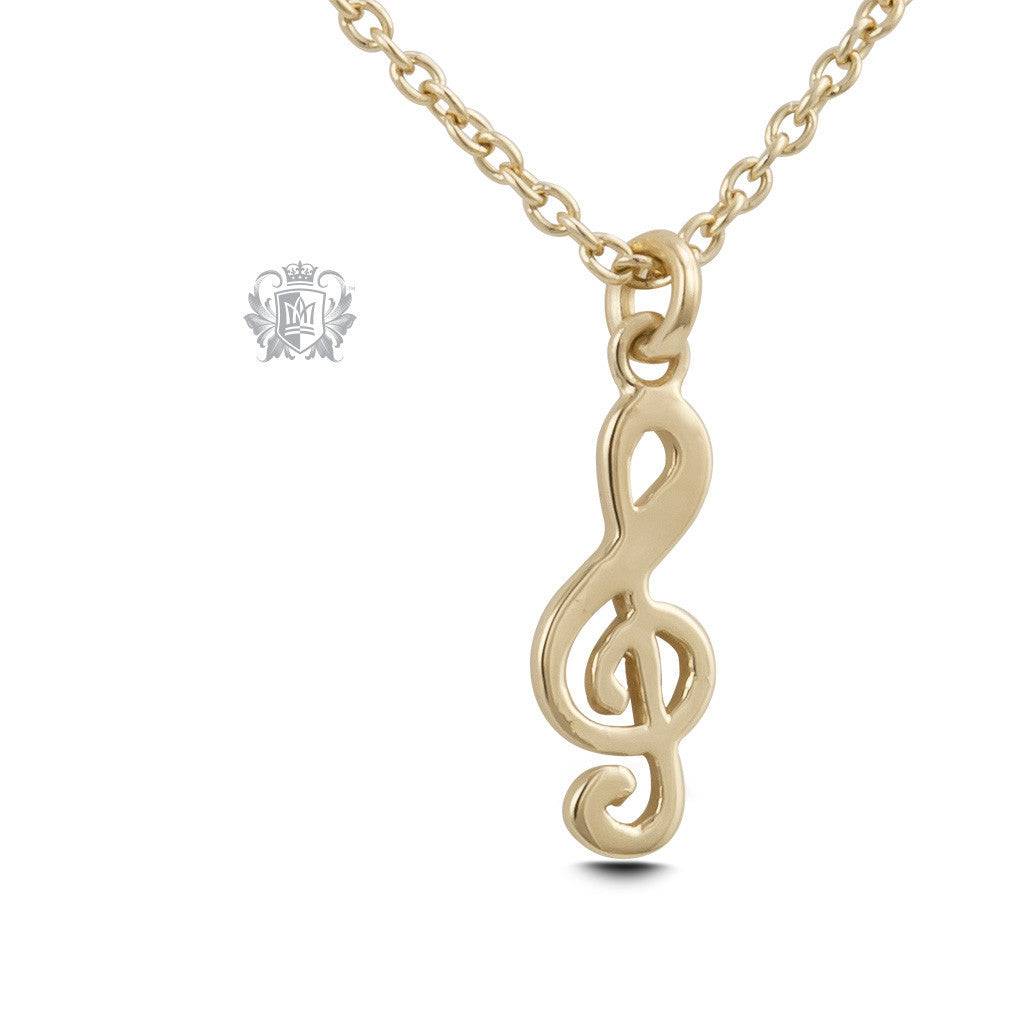 Treble Clef Pendant - Gold dipped sterling silver Necklaces - 3