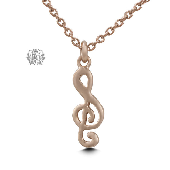 Rose Gold Dipped Treble Clef Pendant (Special Edition) -  Necklaces - 1