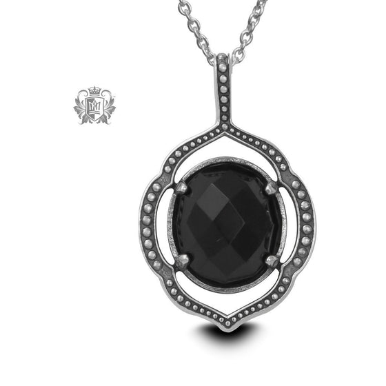 Black Onyx Lotus Pendant - 18 inch chain Gemstone Pendants - 1