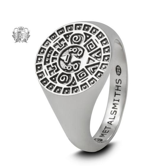 Large Aztec Calendar Signet Ring -  Rings - 1