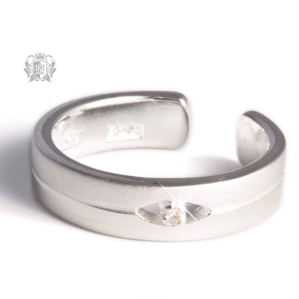 Dual Texture Diamond Toe Ring -  Body Jewelry