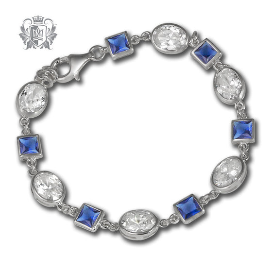 Geometric Gem Tennis Bracelet - Dark blue & clear cubics Gemstone Bracelets - 1