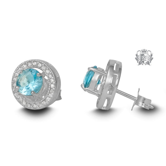 Hello Halo Stud Earrings - Light blue cubic Gemstone Earrings - 1