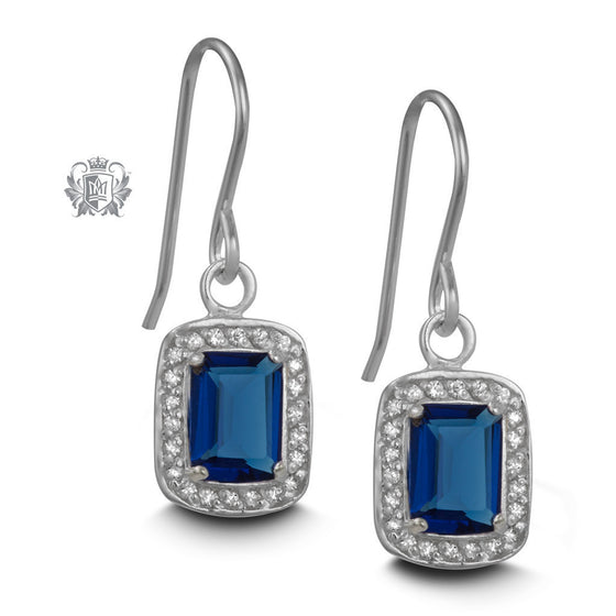 Princess Pop Hanger Earrings - Dark blue cubic Gemstone Earrings - 1