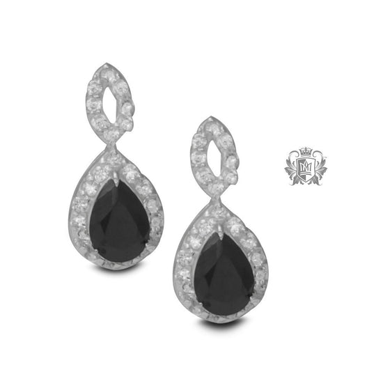 Teardrop Black Cubic Stud Earrings -  Gemstone Earrings