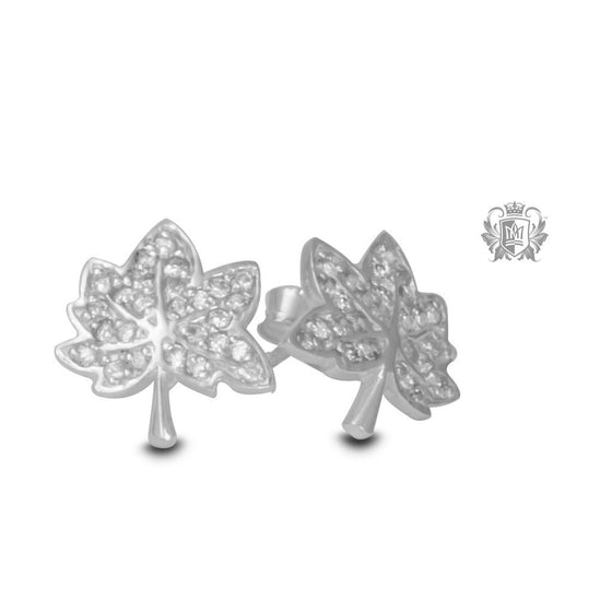 Maple Leaf Stud Earrings with Pavé Cubics -  Gemstone Earrings