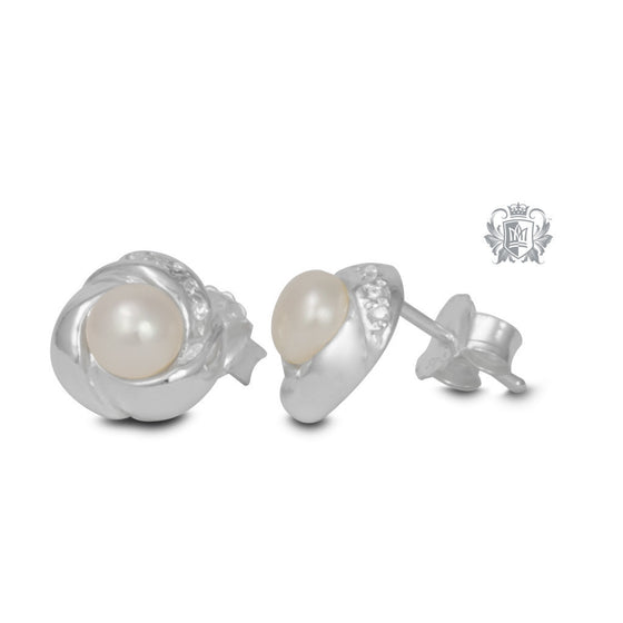 Fresh Water Pearl Knot Stud Earrings -  Gemstone Earrings