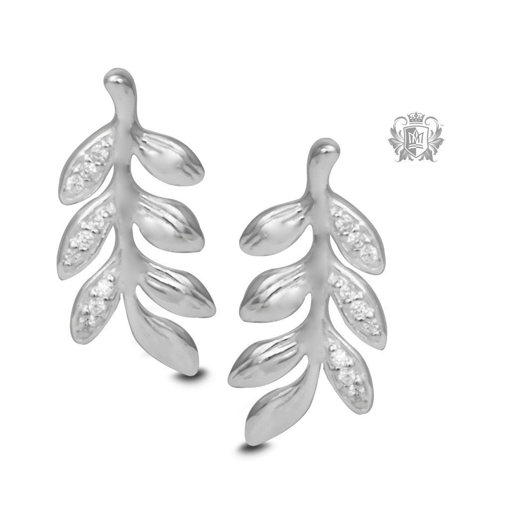 Pavé Olive Leaf Stud Earrings - Metalsmiths Sterling™ Canada