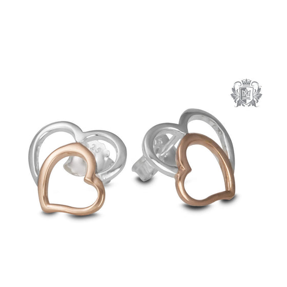 Double Heart Stud Earrings -  Earrings