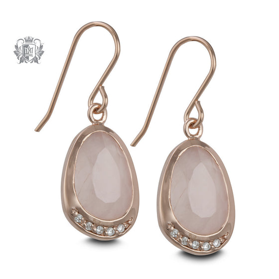 Rose Gold Dipped Rose Quartz Hanger Earrings -  Gemstone Earrings