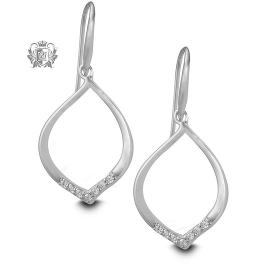 Pavé Cubic Drop Hanger Earrings -  Gemstone Earrings