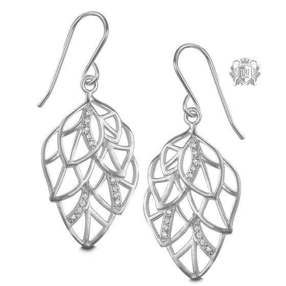 Layered Leaf Hanger Earrings -  Gemstone Earrings
