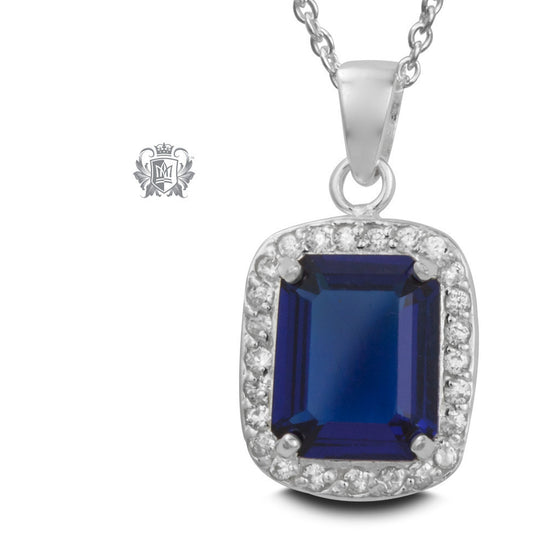 Princess Pop Necklace - Dark blue cubic Gemstone Pendants - 1