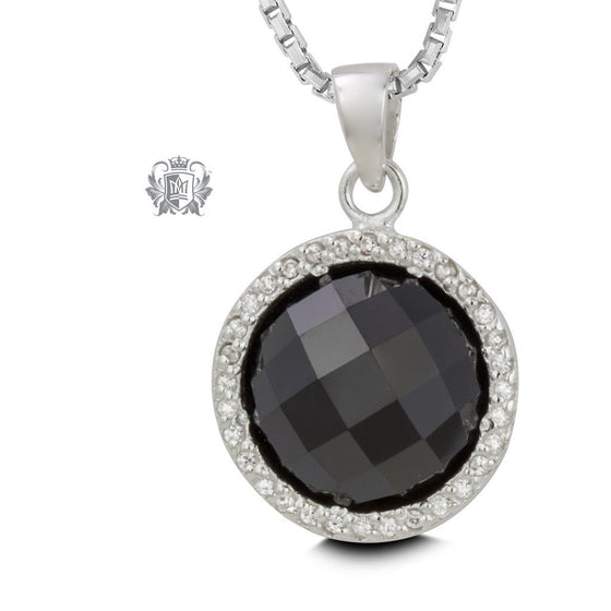 Checker Cut Black Cubic Pendant - 18 inch chain Gemstone Pendants - 1