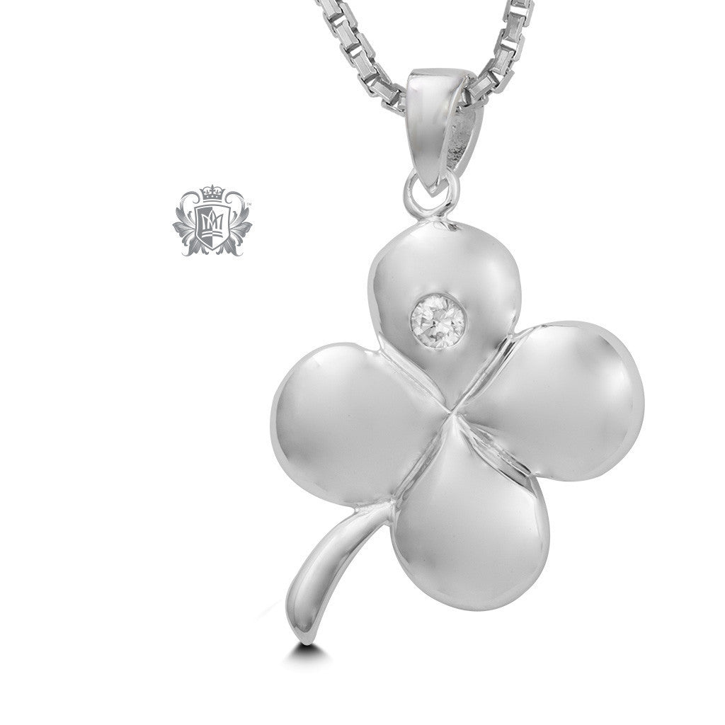 Four Leaf Clover Pendant - 18 inch chain Gemstone Pendants - 1