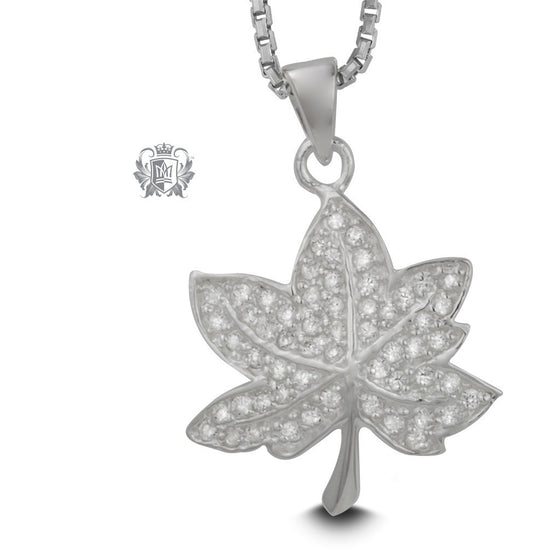 Maple Leaf Pendant with Pavé Cubic - 18 inch chain Gemstone Pendants - 1