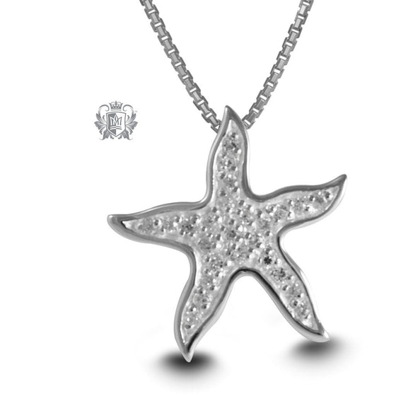 Pavé Starfish Slider Pendant - 18 inch chain Gemstone Pendants - 1