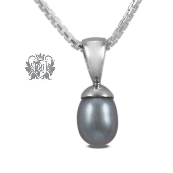 Small Fresh Water Pearl Drop Pendant - Grey Pearl / 16 inch chain Gemstone Pendants - 1