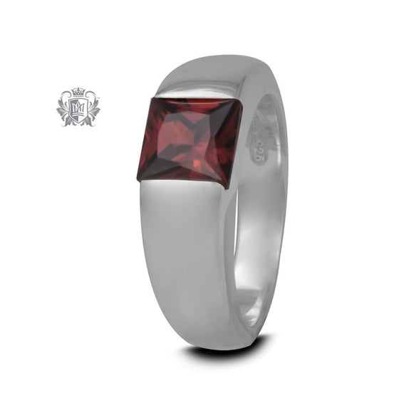 Square Channel Set Ring - Garnet Cubic, Size 7 -  Gemstone RIngs
