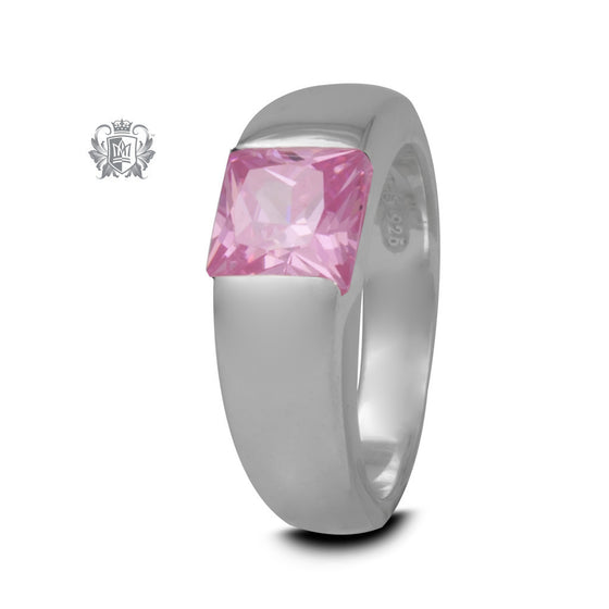 Square Channel Set Ring - Pink Cubic, Size 7 -  Gemstone RIngs