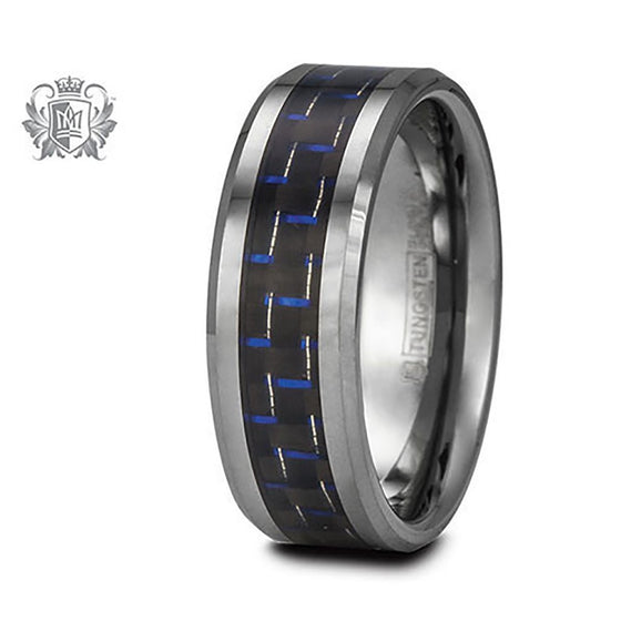 Limited Edition Blue Tungsten Carbon Fiber Band (His) - Size 10 Tungsten Rings