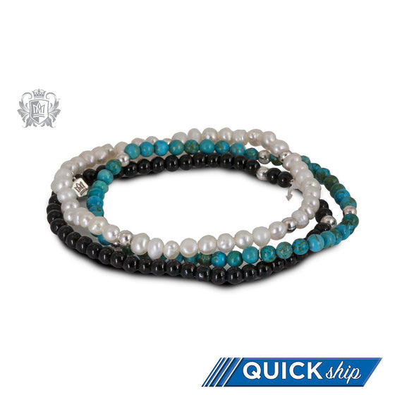 White Pearl, Turquoise & Black Onyx  Stackable Friendship Bracelets Sterling Silver Quick Ship