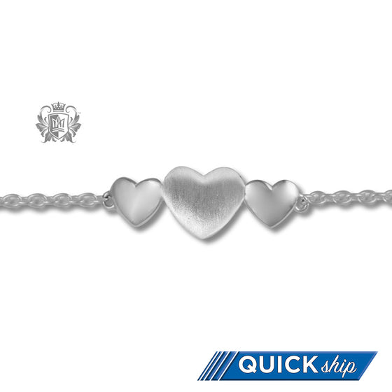 Three Hearts Anklet - Metalsmiths Sterling™ Canada