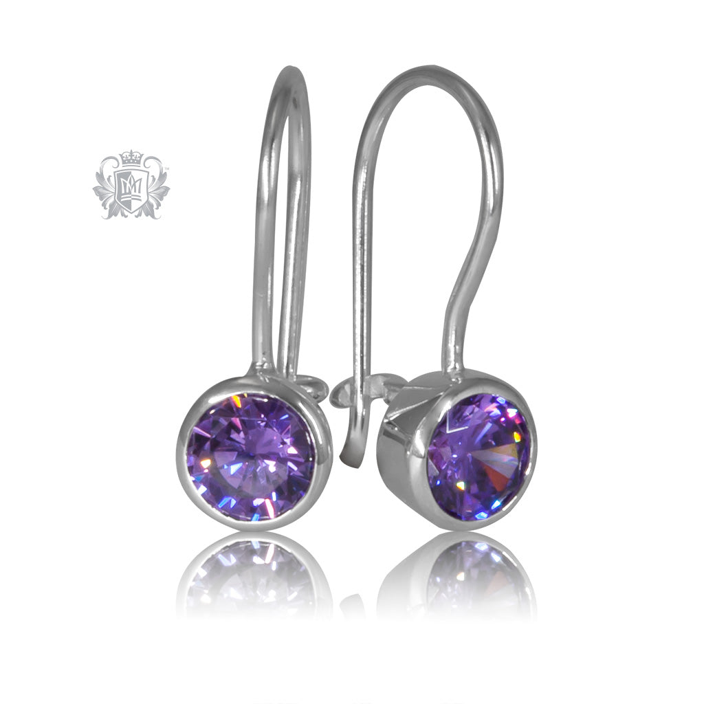 Amethyst Cubic Round Bezel Hangers Sterling Silver