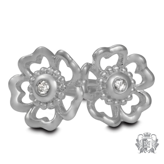 Metalsmiths Sterling Silver Flower Bezel Set Diamond Stud Earrings