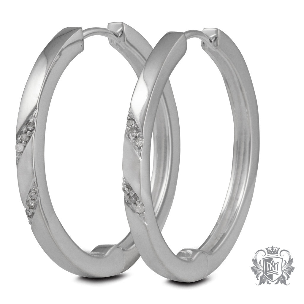 Metalsmiths Sterling Silver Diamond Hoop Earrings