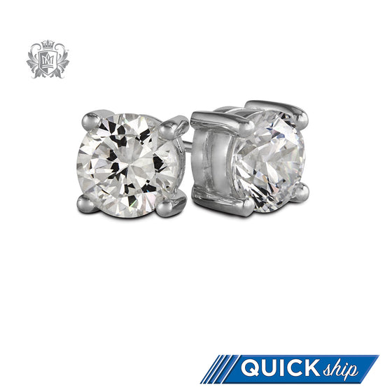 Quick Ship Metalsmiths Sterling Silver Large Prong Set Cubic Studs
