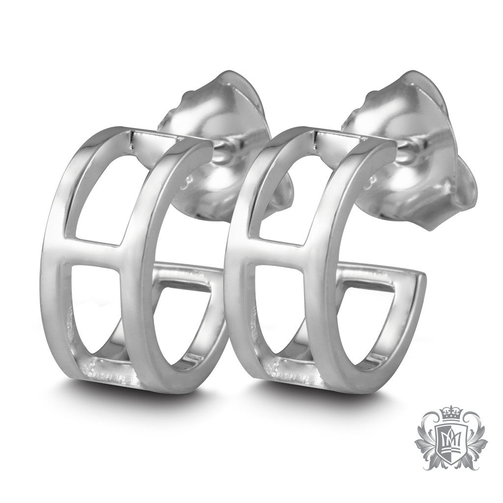 Metalsmiths Sterling Silver Millennium Hoop Stud Earrings