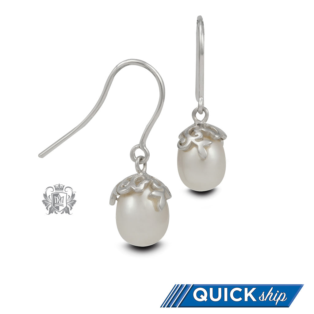 Quick Ship Curlicue Bloom Pearl Earrings