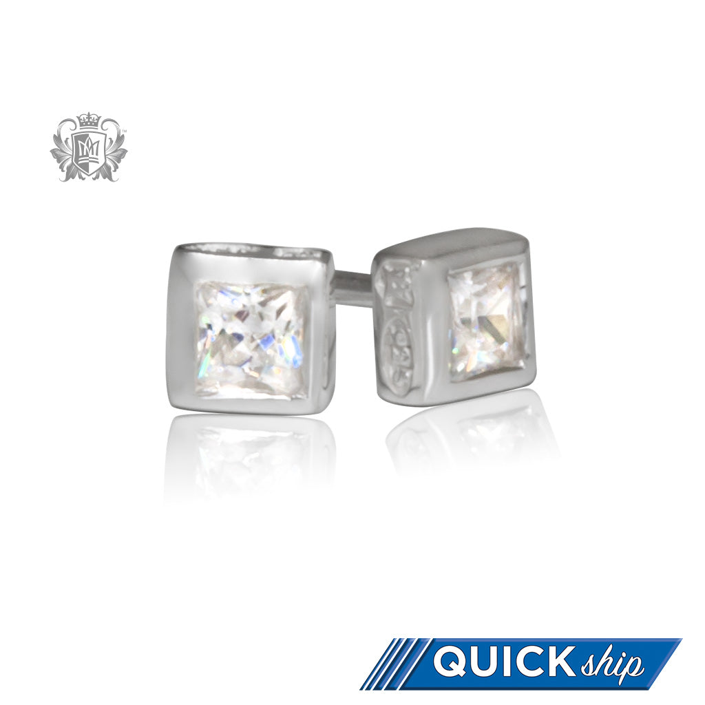 Small Square Cubic Stud Earrings