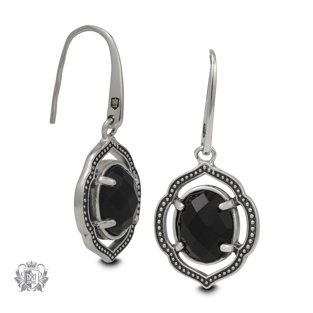 Black Onyx Lotus Dangle Earrings -  side