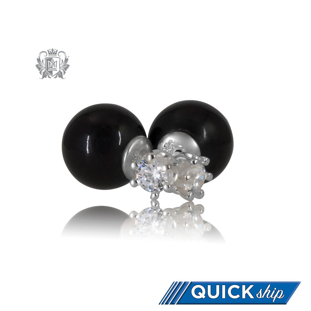 Double Stud Earrings - Black Onyx & Prong Set Cubic - Quick Ship