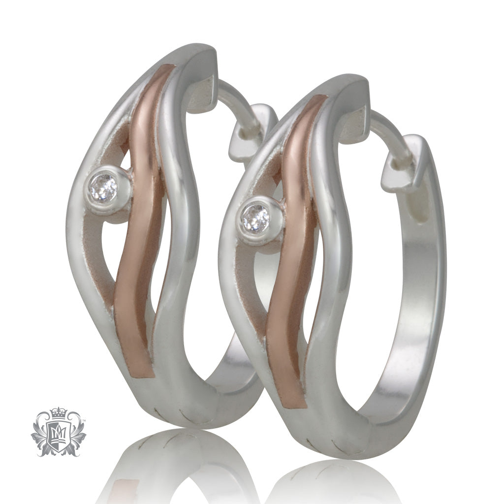 Triple Line Huggies with Rose Gold Dipped Accent - Metalsmiths Sterling™ Canada