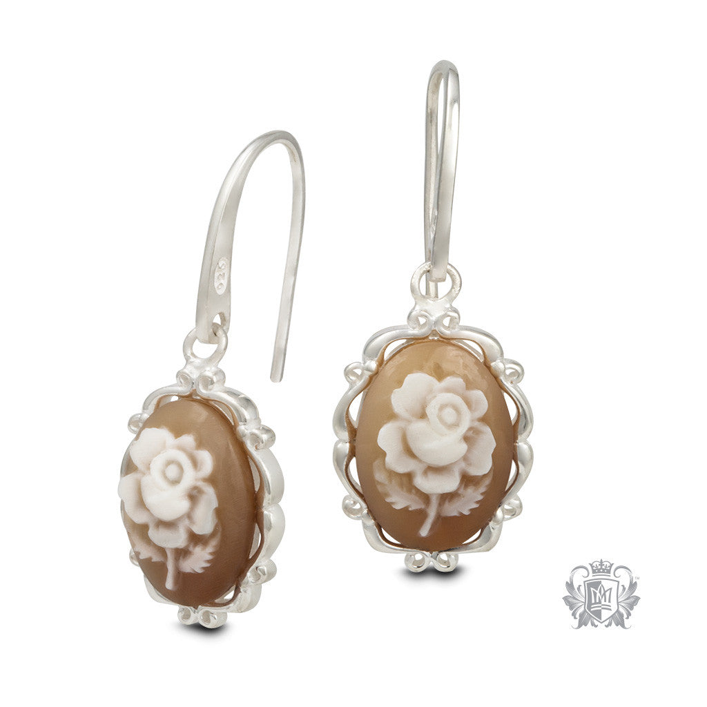 Artisan Carved Rose Cameo Earrings - front