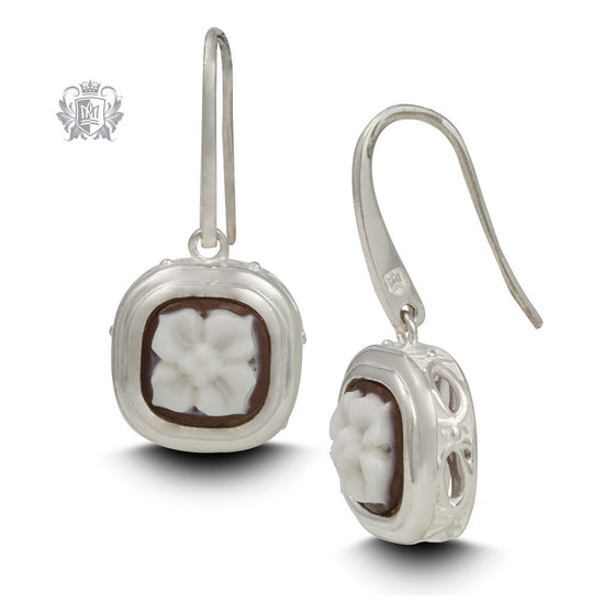 Artisan Carved Cameo Drop Earrings - Front