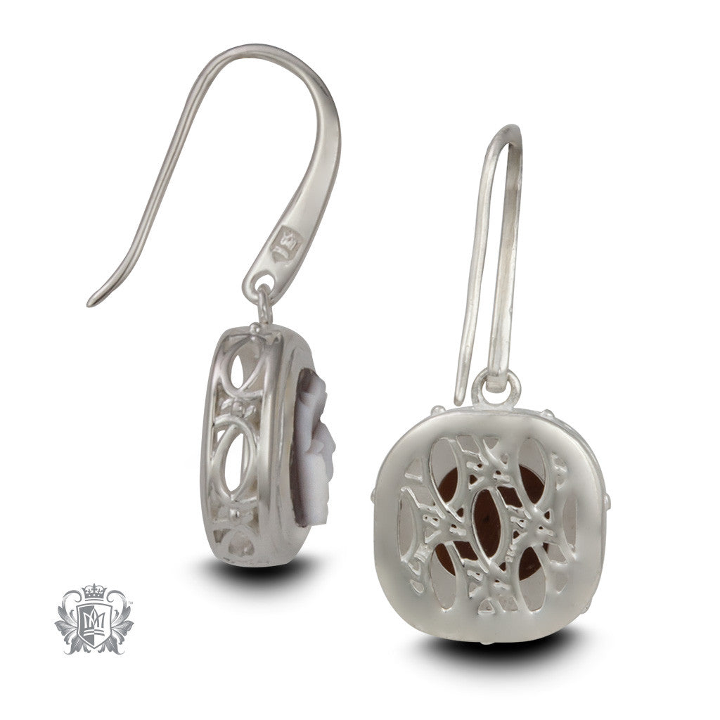 Artisan Carved Cameo Drop Earrings - Back