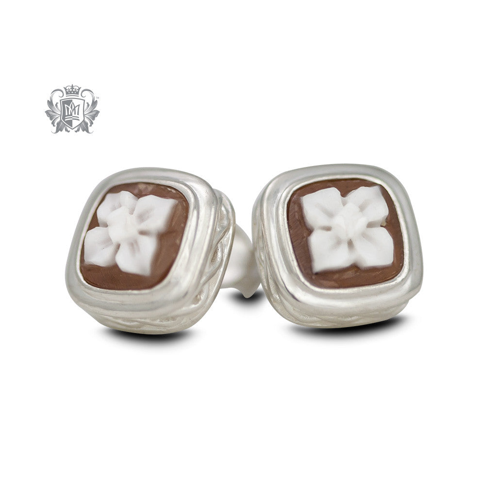 Artisan Carved Cameo Stud Earrings - front