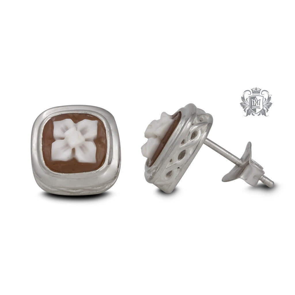 Artisan Carved Cameo Stud Earrings - side