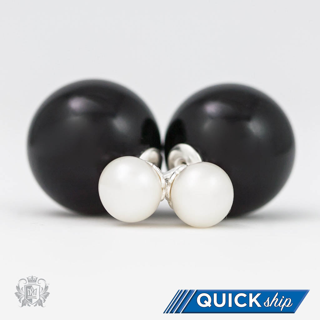 Quick Ship Double Stud Earrings - Black Onyx & Freshwater Pearl - Metalsmiths Sterling™ Canada