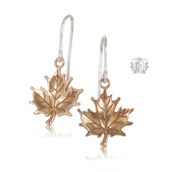 Rose Gold Dipped Natural Maple Leaf Earrings Metalsmiths Sterling Silver