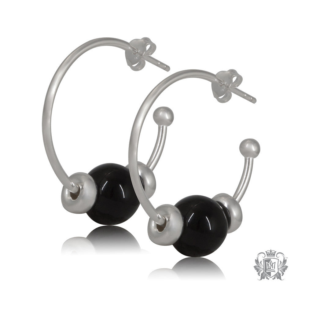 Metalsmiths Sterling Silver Black Onyx Hoop Earrings